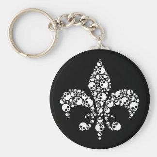 Skull Fleur De Lis Keychain