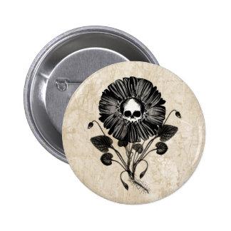 Skull Flower 2 Inch Round Button