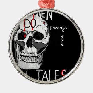 Skull forensic science CSI dead men Silver-Colored Round Ornament