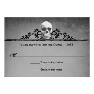 Skull Frame Halloween Wedding Reply RSVP Personalized Invitations
