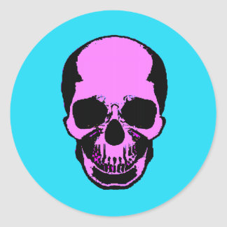 Skull Frontal Round Sticker
