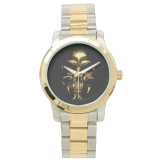 Skull gold and silver tone watch