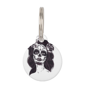 Skull Gothic Pet Name Tag