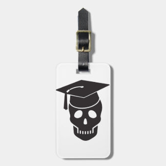 skull graduated from school luggage tag