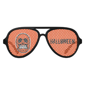 Skull Halloween -Orange & Black 2 Aviator Sunglasses