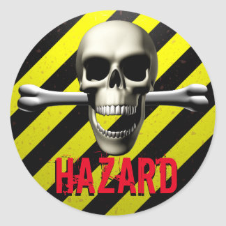Skull Hazard Warning Classic Round Sticker