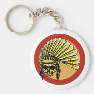 Skull head Indian skull native American Basic Round Button Keychain