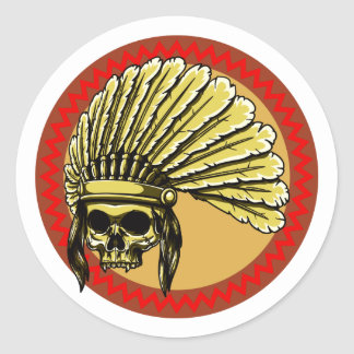 Skull head Indian skull native American Stickers