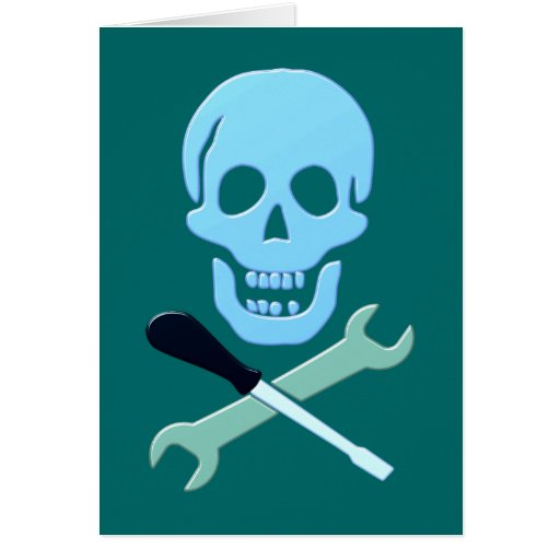 Skull head mechanic skull mechanic greeting cards