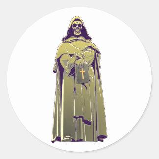 Skull head monk skull monk round sticker