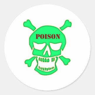 Skull head poison skull poison classic round sticker