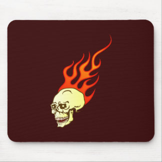 Skull head skull flames of flames mouse pad