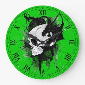 skull head with dragon graffiti large clock