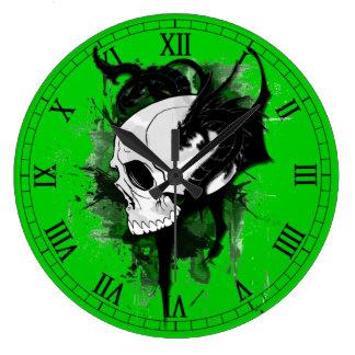 skull head with dragon graffiti wall clock