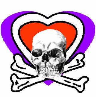 Skull Heart & Bones White The MUSEUM Zazzle Gifts Photo Sculpture Button