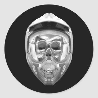 Skull Helmet on Black Classic Round Sticker