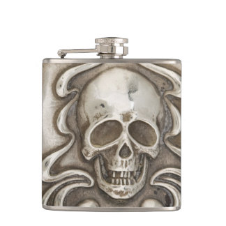 Skull Hip Flask Vintage Silver Repousse Jewelry
