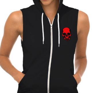 Skull Hoodie Red - Bare Bones Skull