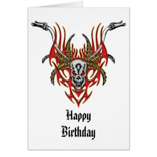 Skull Horns Flames and Handlebars Card