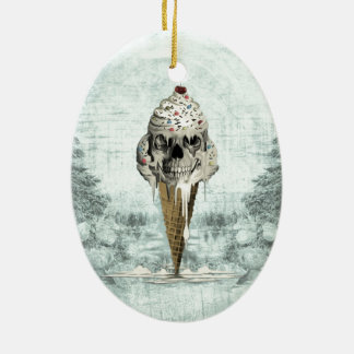 Skull ice cream cone illustration ceramic oval ornament