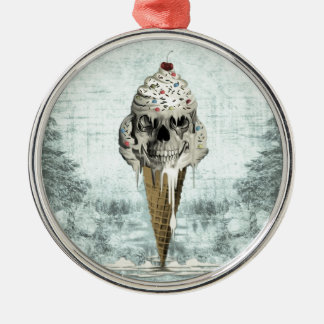 Skull ice cream cone illustration Silver-Colored round ornament
