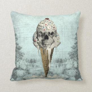 Skull ice cream cone illustration throw pillow