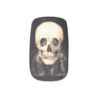 Skull Illusion Minx Nail Art