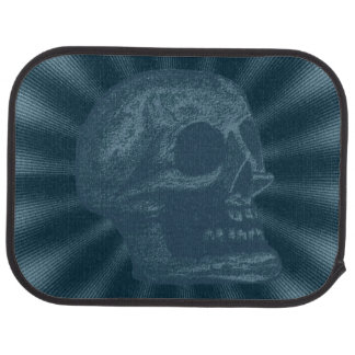 Skull- Illustrated Skull Ocean Blue Car Mat