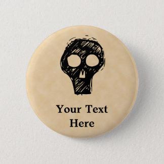Skull illustration motif. 2 inch round button