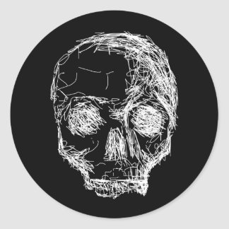 Skull in Black and White. Classic Round Sticker