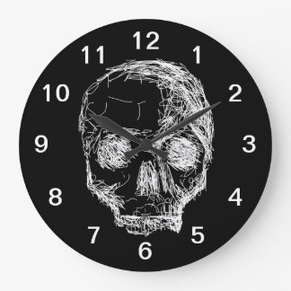 Skull in Black and White. Large Clock