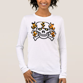 SKULL IN FLAMES GRAPHIC PRINT LONG SLEEVE T-Shirt
