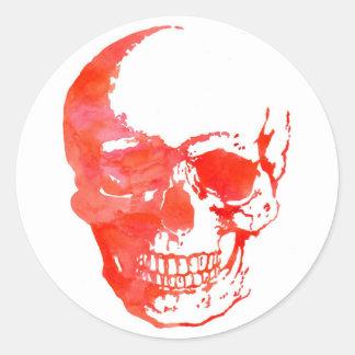Skull in Red Round Sticker