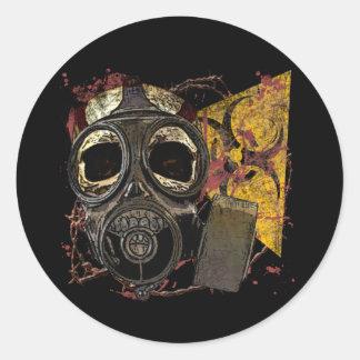 Skull in Respirator Classic Round Sticker