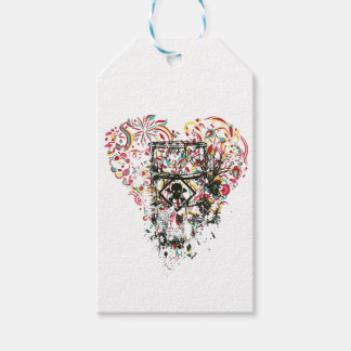 skull in the glass, vintage heart gift tags