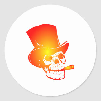 Skull in Top Hat by Chillee Wilson Classic Round Sticker