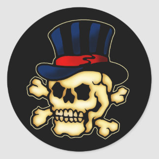 Skull in Top Hat Classic Round Sticker