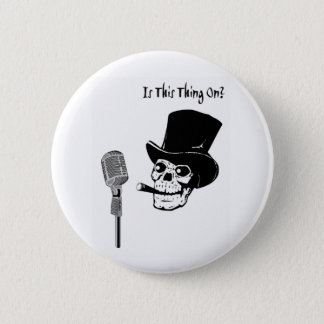 Skull in Top Hat with Microphone 2 Inch Round Button