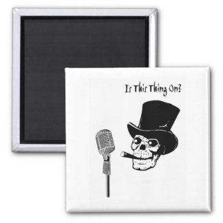 Skull in Top Hat with Microphone Magnet