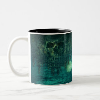Skull in Watery Grave Two-Tone Coffee Mug