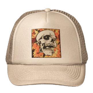 Skull in yellow trucker hat