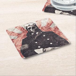 Skull kamikaze square paper coaster