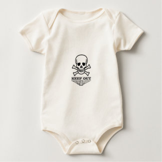 skull keep out baby bodysuit