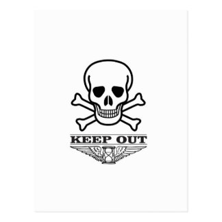 skull keep out postcard