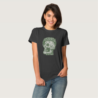 SKULL Keyhole -Faded Green Distressed Logo look Tee Shirts