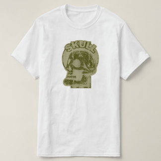 SKULL Keyhole -Faded Olive Green Distressed Logo T Shirts