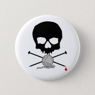 Skull & Knitting Needle with Yarn Button