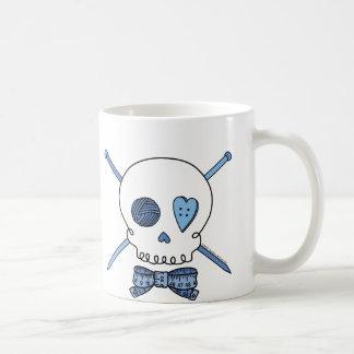 Skull & Knitting Needles (Blue) Mug