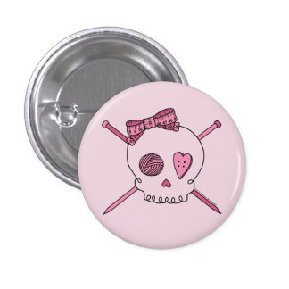 Skull & Knitting Needles (Pink Background) Buttons