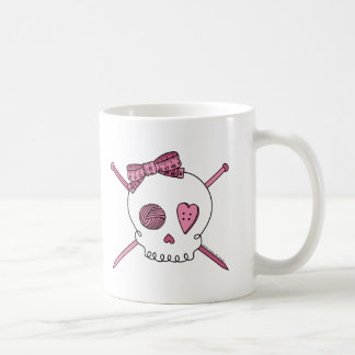 Skull & Knitting Needles (Pink) Coffee Mug